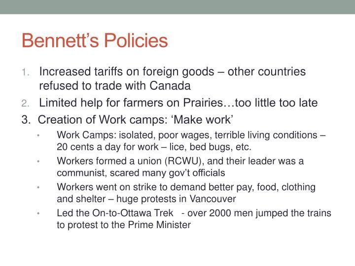 Bennett's Policies