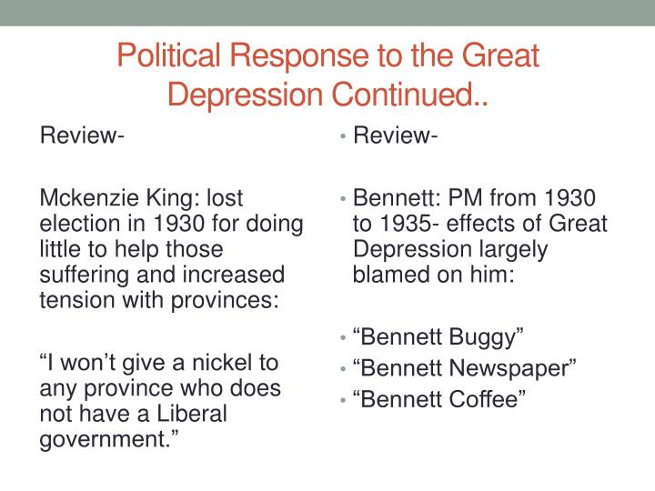Political Response to the Great Depression Continued..