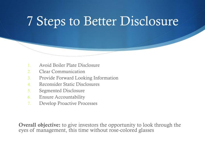 7 Steps to Better Disclosure