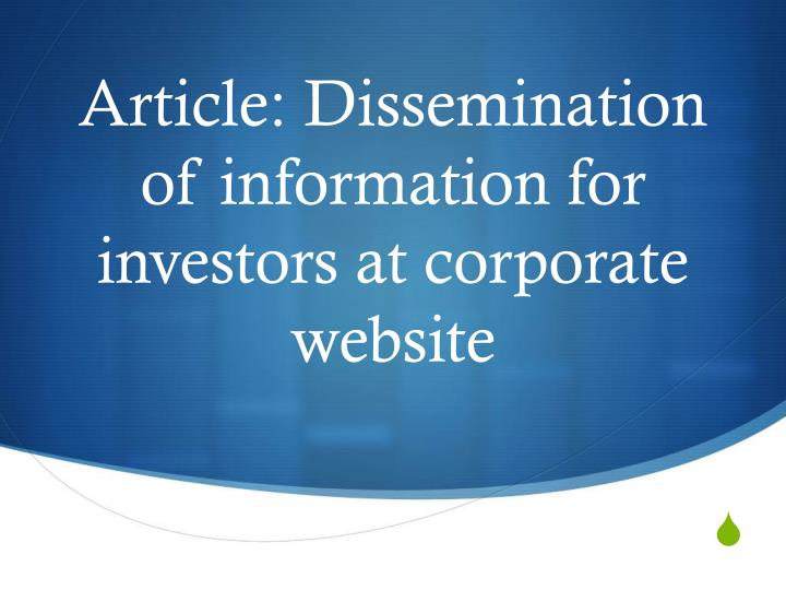 Article: Dissemination of information for investors at corporate website