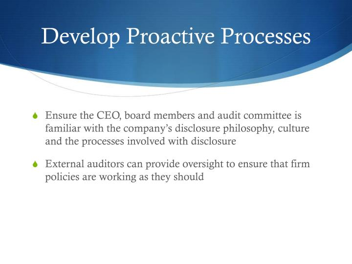 Develop Proactive