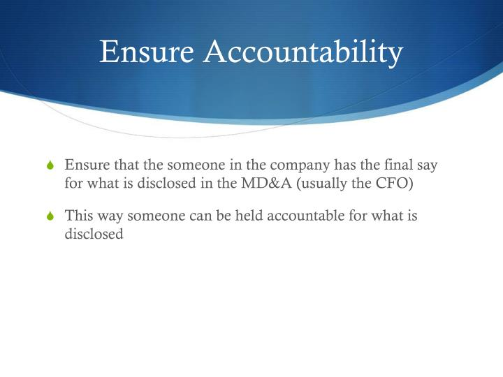 Ensure Accountability