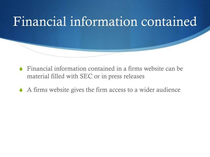 Financial information contained