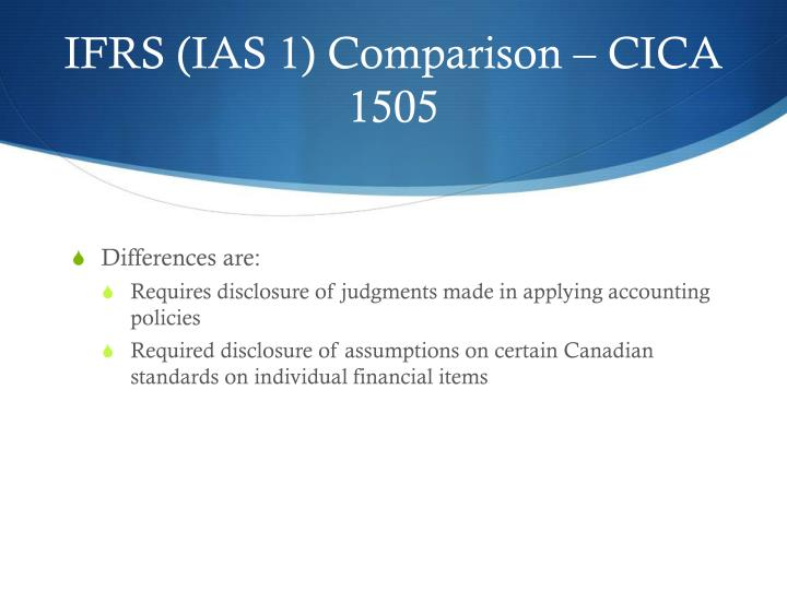 IFRS (IAS 1) Comparison – CICA 1505
