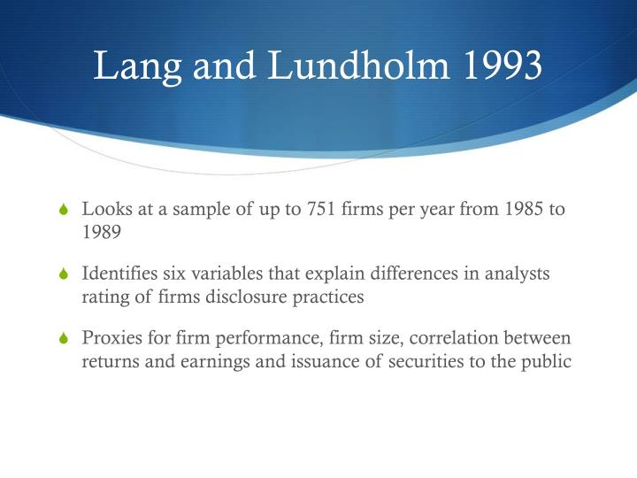 Lang and Lundholm 1993