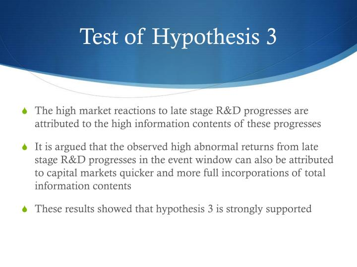 Test of Hypothesis 3