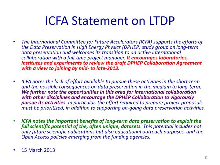 ICFA Statement on LTDP