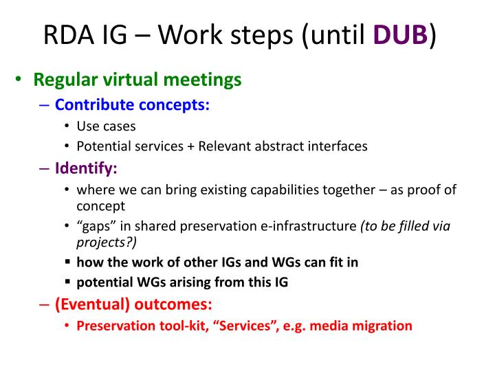 RDA IG – Work steps (until
