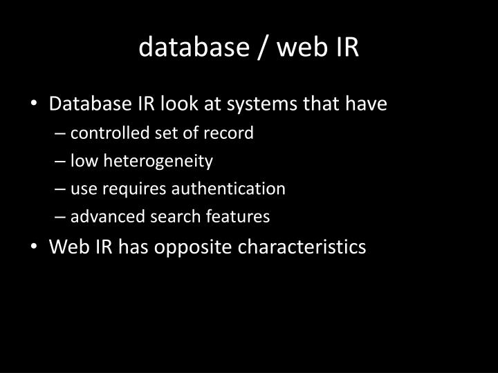 database / web IR