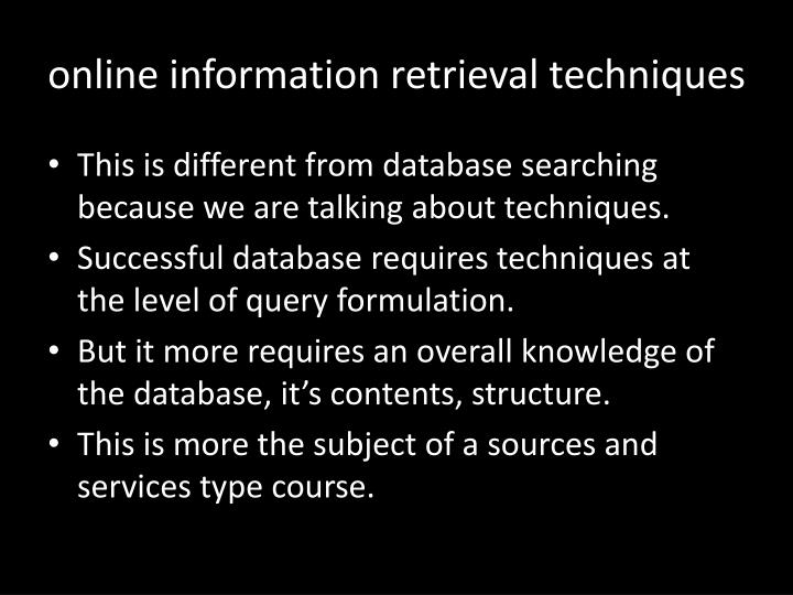 online information retrieval techniques