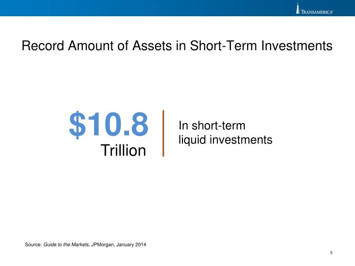 Record Amount of Assets in Short-Term Investments