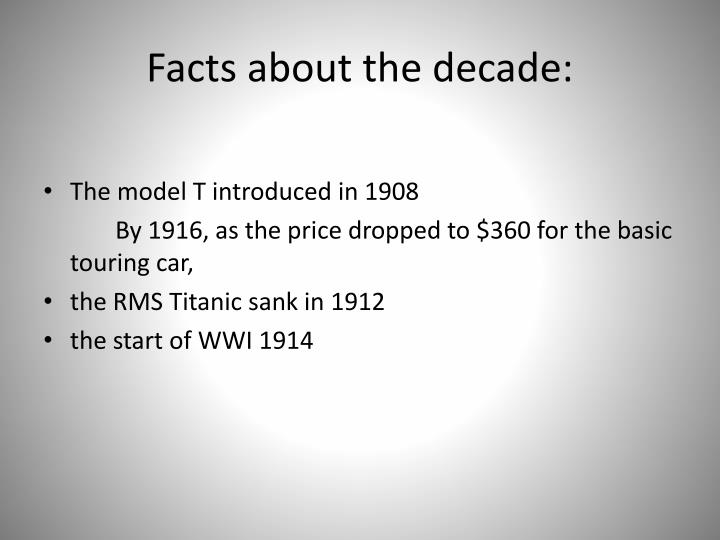 Facts about the decade