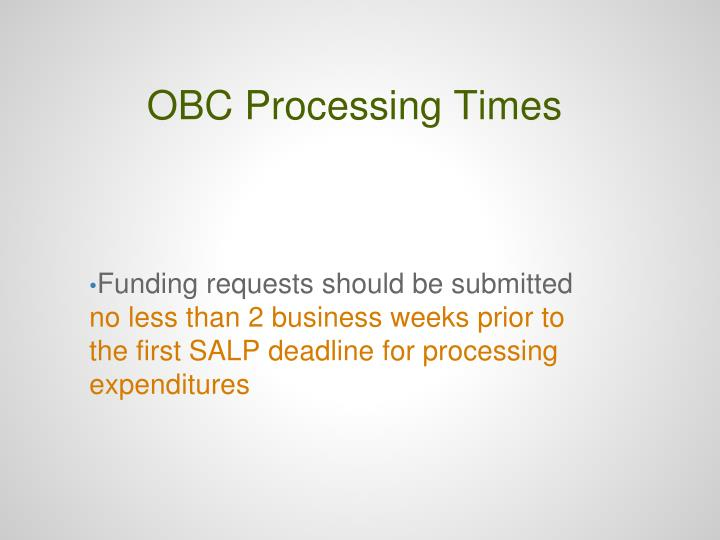 OBC Processing Times