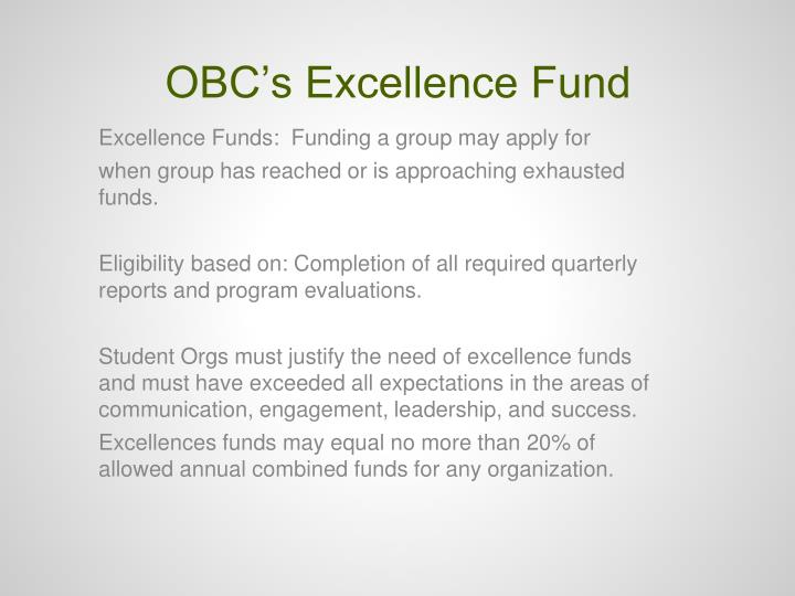 OBC's Excellence Fund