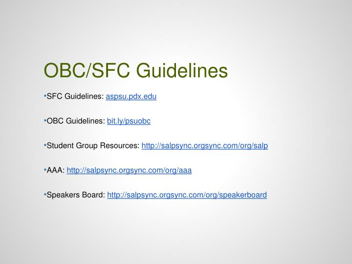 OBC/SFC Guidelines