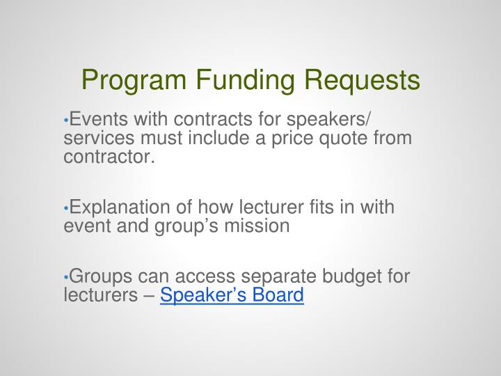 Program Funding Requests