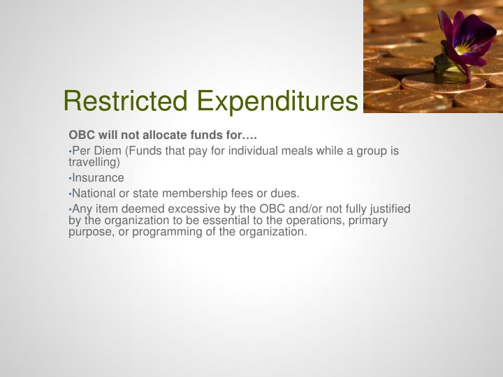 Restricted Expenditures
