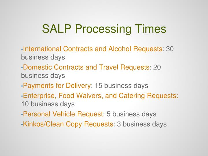 SALP Processing Times