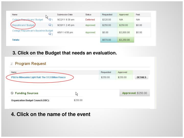 3. Click on the Budget that needs an evaluation.