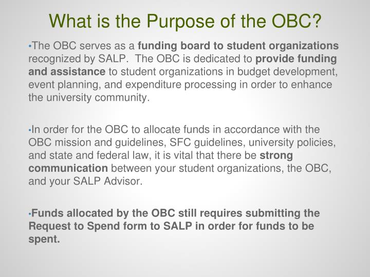 What is the Purpose of the OBC?