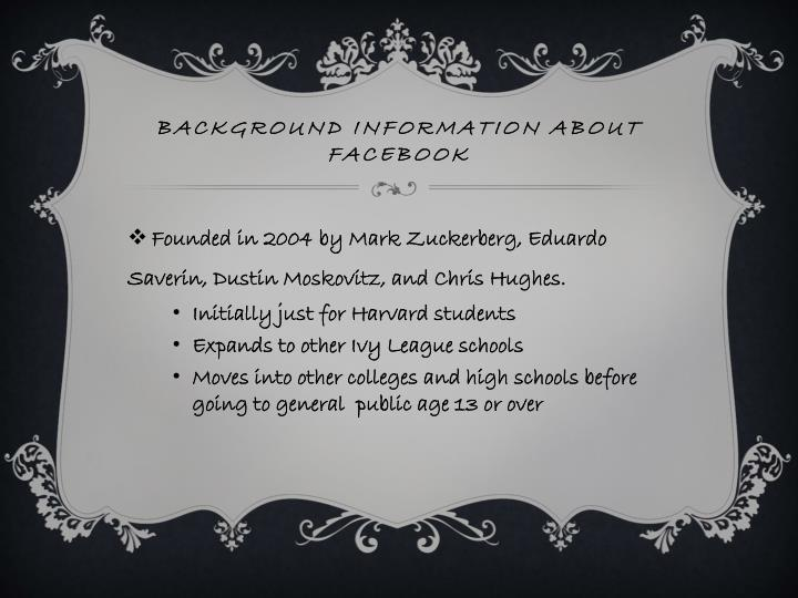 Background information about facebook