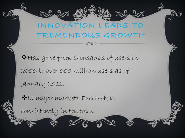 Innovation leads to tremendous growth