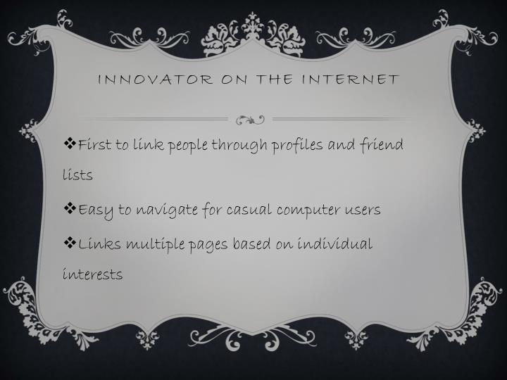 Innovator on the internet