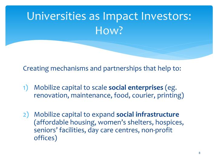 Universities as Impact Investors: How?