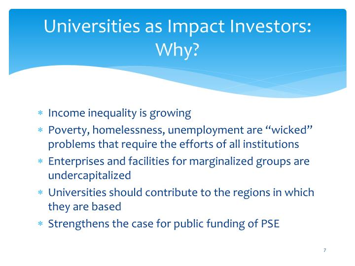 Universities as Impact Investors: Why?