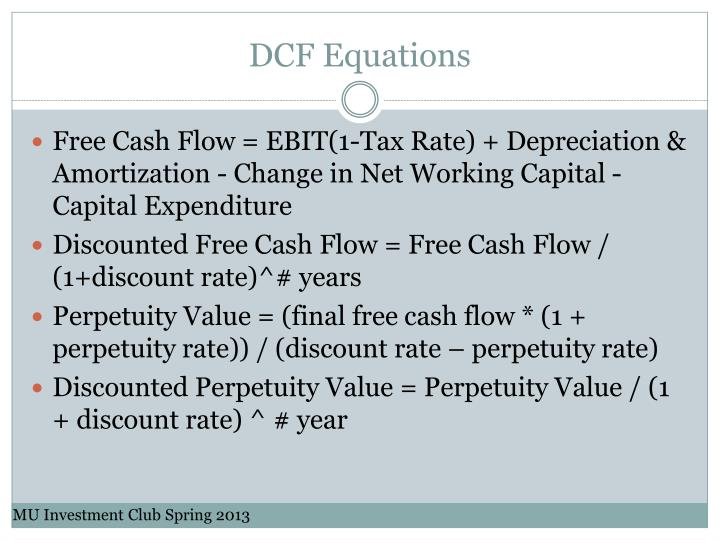 DCF Equations