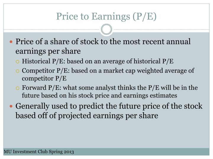 Price to Earnings (P/E)