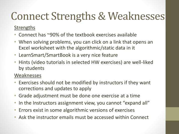 Connect Strengths & Weaknesses