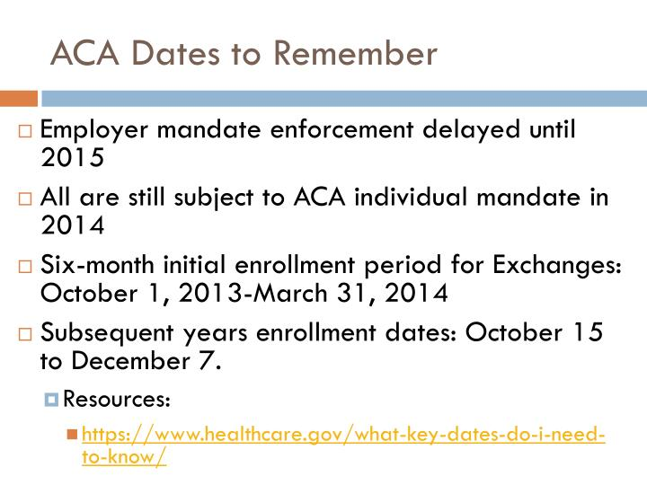 ACA Dates to Remember