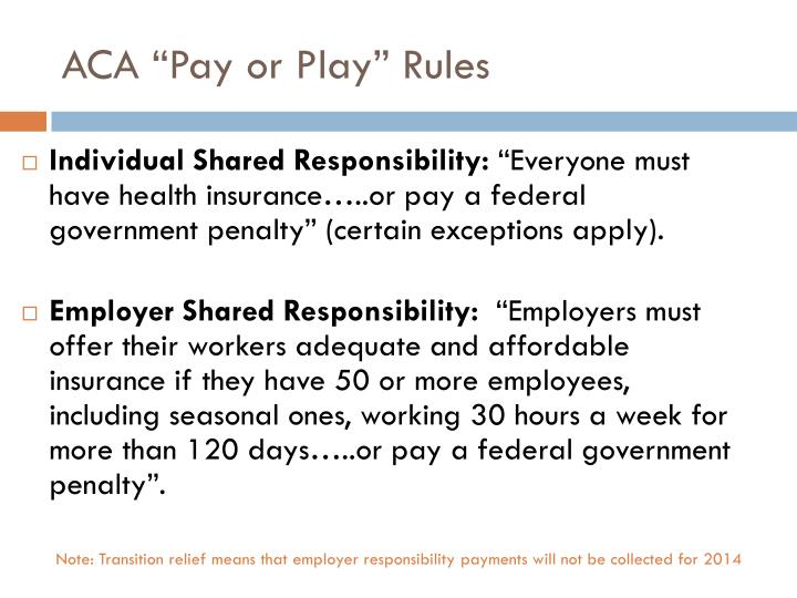 "ACA ""Pay or Play"" Rules"