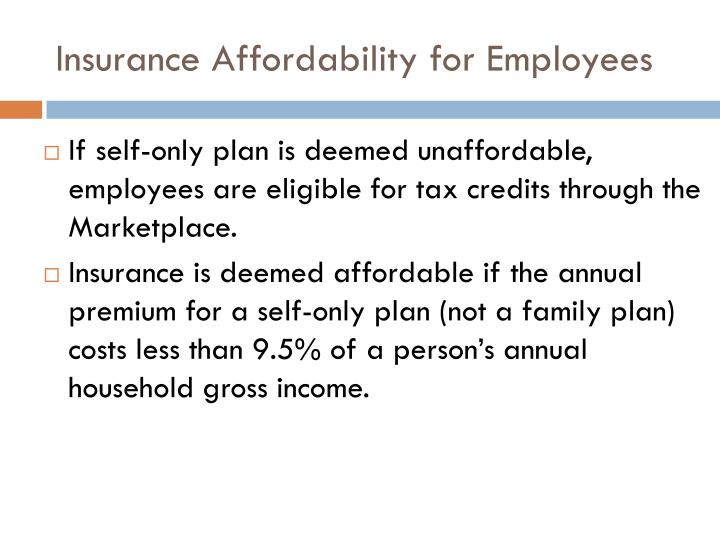 Insurance Affordability for Employees