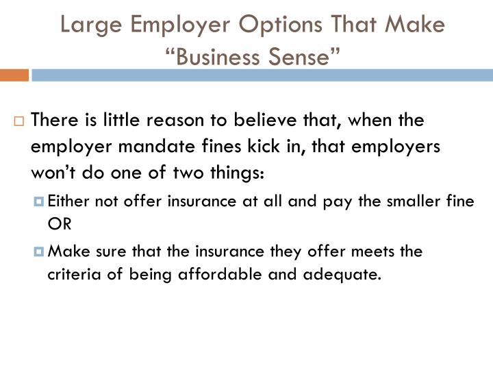 "Large Employer Options That Make ""Business Sense"""