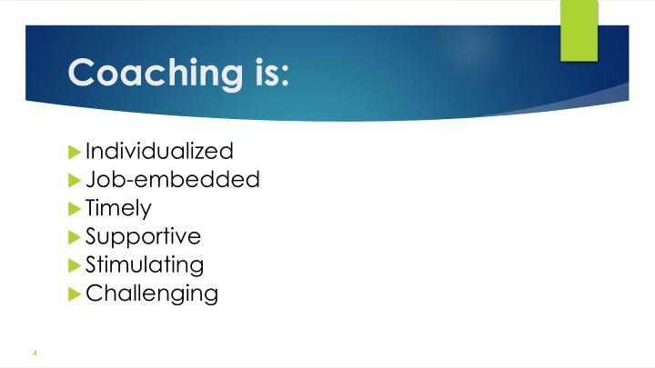 Coaching is: