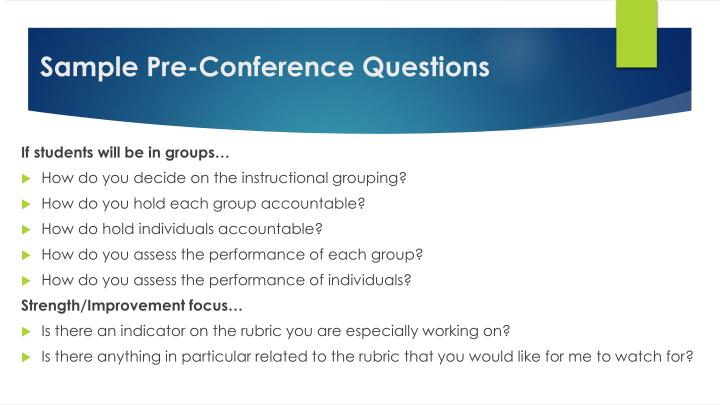Sample Pre-Conference Questions