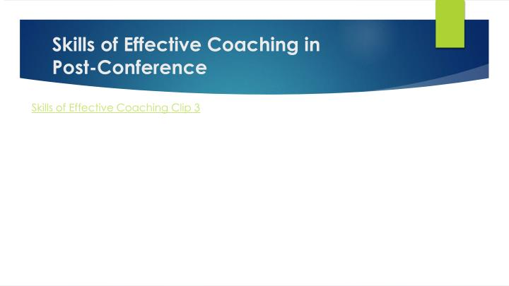 Skills of Effective Coaching in