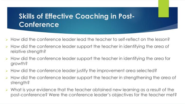 Skills of Effective Coaching in Post-Conference