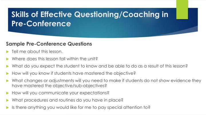 Skills of Effective Questioning/Coaching in