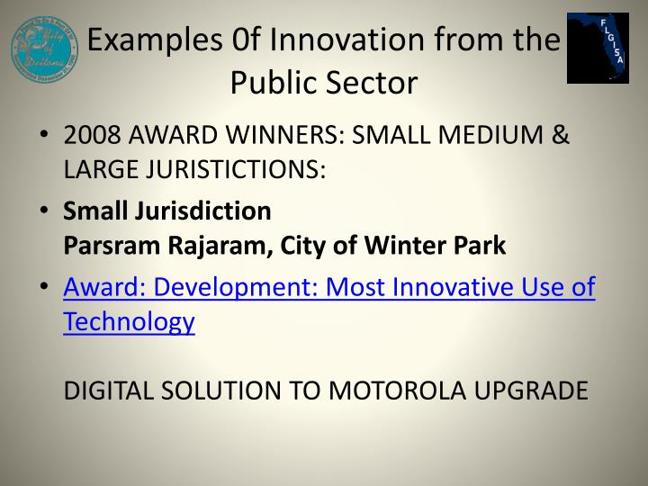 Examples 0f Innovation from the Public Sector