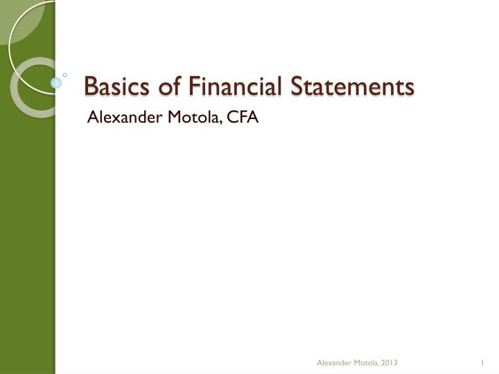 Basics of financial statements