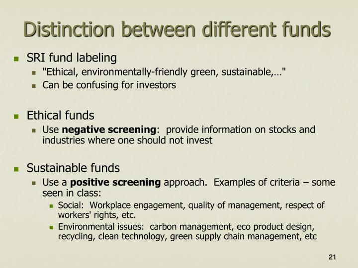 Distinction between different funds