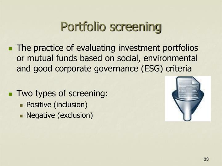 Portfolio screening