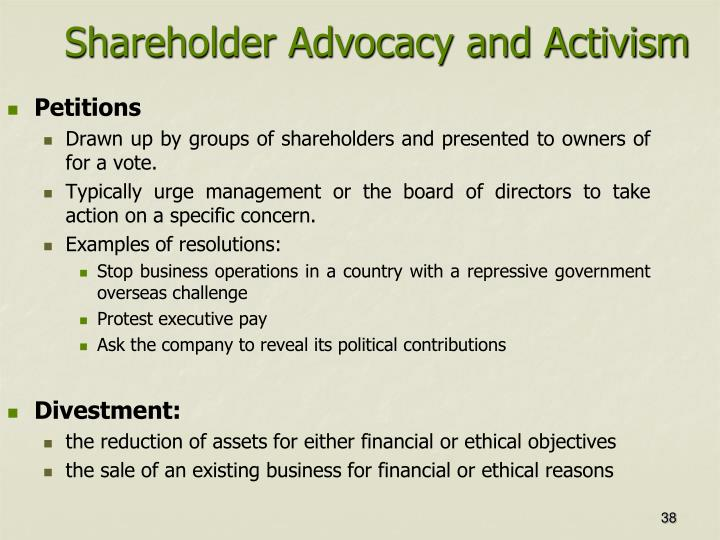 Shareholder Advocacy and Activism