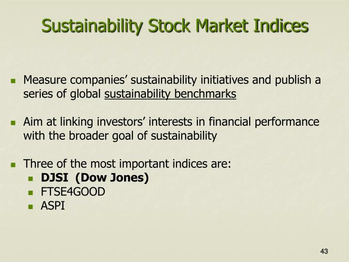Sustainability Stock Market Indices
