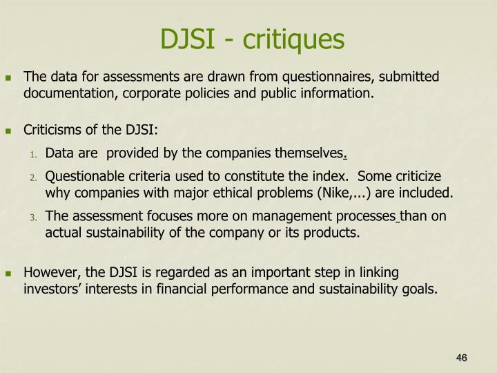 DJSI - critiques