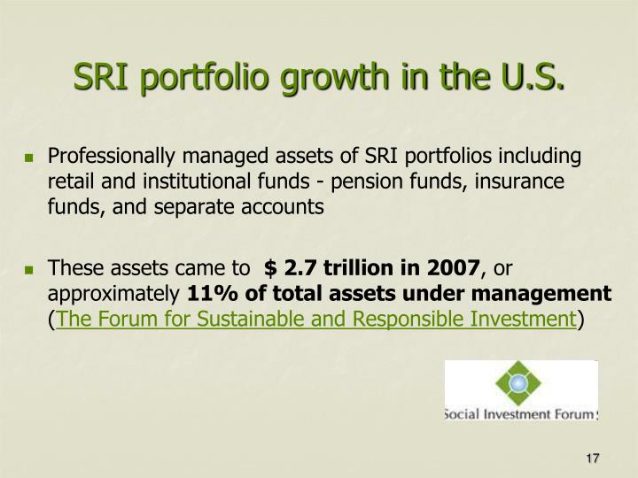 SRI portfolio growth in the U.S.