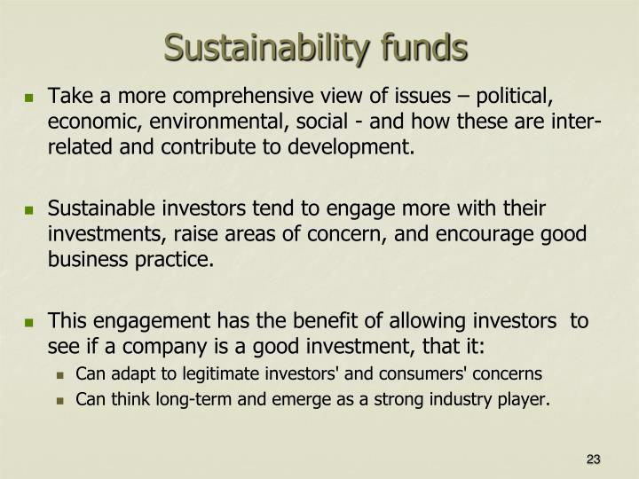 Sustainability funds